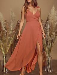 cheap -Sheath / Column Maxi Boho Holiday Party Wear Dress V Neck Sleeveless Asymmetrical Chiffon with Ruffles Split 2021