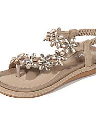 cheap -Women's Sandals Summer Flat Heel Open Toe Daily PU Almond / Black / Blue
