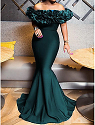 cheap -Mermaid / Trumpet Elegant Sexy Engagement Formal Evening Dress Off Shoulder Short Sleeve Sweep / Brush Train Stretch Satin with Sleek 2020