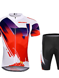 cheap -BIKEBOY Men's Short Sleeve Cycling Jersey with Shorts Red Patchwork Gradient Bike Quick Dry Breathable Sports Patchwork Mountain Bike MTB Road Bike Cycling Clothing Apparel / Stretchy