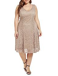 cheap -Women's A-Line Dress Knee Length Dress - Sleeveless Solid Color Summer Work 2020 Khaki L XL XXL XXXL