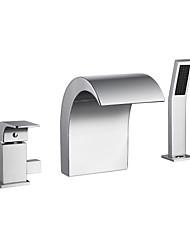 cheap -Bathtub Faucet - Chrome Finish Waterfall Spout Bath Tub and Shower Mixer Tap