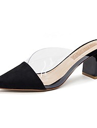cheap -Women's Sandals Summer Block Heel Pointed Toe Daily Solid Colored PU Black / Beige