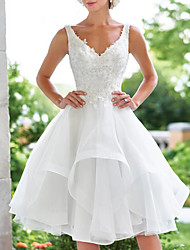cheap -A-Line Wedding Dresses V Neck Knee Length Lace Organza Sleeveless Vintage 1950s with Appliques Cascading Ruffles 2020