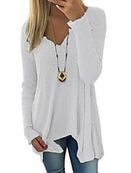 Недорогие -Жен. На каждый день Однотонный Длинный рукав Длинный Пуловер Свитер джемпер, Глубокий V-образный вырез Весна / Осень Белый / Розовый S / M / L