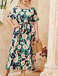 cheap -Women's A Line Dress Maxi long Dress Blue Short Sleeve Floral Summer Round Neck Work 2021 3XL 4XL 5XL 6XL / Plus Size