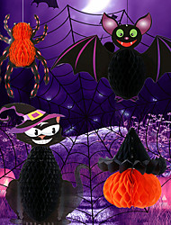 cheap -Halloween Party Toys Pendant 4 pcs Cartoon Spiders Bat Mischief Paper Kid's Adults Trick or Treat Halloween Party Favors Supplies