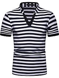 billige -Herre Stribet T-shirt Basale Daglig Weekend Sort / Navyblå / Grå