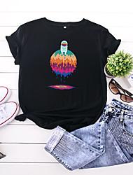 povoljno -Žene Majica s rukavima Crtani film Print Okrugli izrez Tops 100% pamuk Osnovni Ljeto Lila-roza Obala Crn