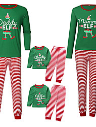 cheap -Family Look Family Matching Outfits 2 Piece Clothing Set Solid Colored Long Sleeve Print Green Christmas Active Vintage