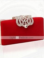 cheap -Women's Bags PU Leather / Velvet Evening Bag Crystals Chain for Wedding / Special Occasion / Wedding Party Black / Purple / Red / Blue / Wedding Bags
