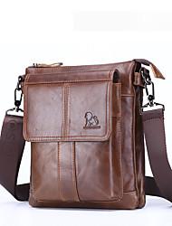 cheap -Men's Bags Nappa Leather Shoulder Messenger Bag Crossbody Bag Zipper Daily Office & Career MessengerBag Black Brown