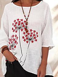 cheap -Women's T-shirt Floral Tops Round Neck Daily Summer Wine White Blue S M L XL 2XL 3XL 4XL 5XL