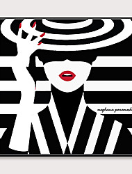cheap -Framed Art Pop Cartoon Canvas Printing Modern Black And White Stripes Fashion Models PS Oil Painting  Wall Art Suitable for Living Room Decoration Ready To Hang 1 Piece