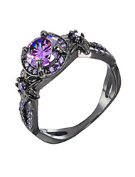 cheap -Women's Ring Amethyst 1pc Black Platinum Plated Alloy Stylish Daily Jewelry Cute