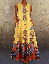 cheap -Women's Maxi Shift Dress - Sleeveless Geometric V Neck White Purple Yellow Light Blue S M L XL XXL XXXL XXXXL XXXXXL