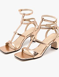 cheap -Women's Sandals Summer Pumps Open Toe Daily Solid Colored PU Gold / Silver