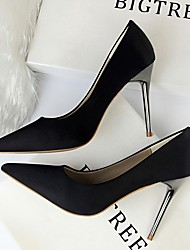 cheap -Women's Heels Stiletto Heel Pointed Toe Daily PU Solid Colored Summer Black Yellow Red / 3-4