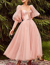 cheap -A-Line Beautiful Back Elegant Wedding Guest Prom Dress Sweetheart Neckline Long Sleeve Ankle Length Tulle with Bow(s) 2021