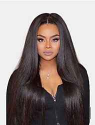 cheap -Remy Human Hair Wig Medium Length Long Yaki Straight Middle Part Natural Women Sexy Lady New U Part Brazilian Hair Women's Natural Black #1B 12 inch 14 inch 16 inch