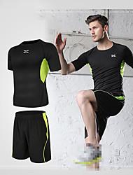 povoljno -Muškarci Activewear Set Odjeća za vježbanje Kratkih rukava 2pcs Mala težina Prozračnost Quick dry Fitness Trening u teretani Trčanje Aktivna obuka Sportska Komplet odjeće za atletiku Tamno siva Crn