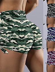 povoljno -Žene Kratke Hlače za jogu Podizanje prignječenog trzaja Vezica Kratke hlače Kontrola trbuščića Butt Lift Prozračnost kamuflaža purpurna boja Pink Zelen Yoga Fitness Trening u teretani Sportski Odjeća