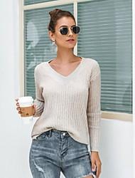 billige -Dame Ensfarvet Langærmet Pullover Sweater Jumper, V-hals Vinter Blå / Kakifarvet En Størrelse
