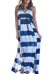 cheap -Women's A-Line Dress Maxi long Dress - Sleeveless Striped Summer V Neck Casual Sexy 2020 Blue Red S M L XL XXL