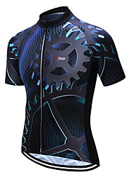 cheap -21Grams Men's Short Sleeve Cycling Jersey Coolmax® Blue / Black Bike Jersey Top Mountain Bike MTB Road Bike Cycling Moisture Wicking Limits Bacteria Sports Clothing Apparel / Stretchy / SBS Zipper