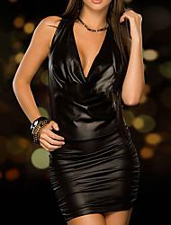 preiswerte -Eng anliegend Kleines Schwarzes Kleid Sexy Party Wear Cocktailparty Kleid V-Ausschnitt Ärmellos Kurz / Mini PU mit Glatt 2020