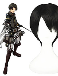 cheap -Cosplay Wig Rivaille Shingeki No Kyojin Straight Cosplay Short Bob Wig Short Black Synthetic Hair 12 inch Men's Anime Cosplay Cool Black