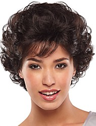 cheap -Synthetic Wig Curly With Bangs Wig Short Dark Brown Synthetic Hair 10 inch Women's Fashionable Design New Arrival Comfortable Brown