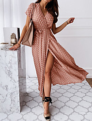 cheap -Women's Wrap Dress Maxi long Dress - Short Sleeve Polka Dot Print Summer V Neck Casual Sexy Vacation Tea Party 2020 Black Blue Blushing Pink Dark Green Green S M L XL XXL XXXL
