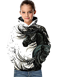 cheap -Kids Toddler Girls' Active Basic Horse Fantastic Beasts Geometric 3D Animal Print Long Sleeve Hoodie & Sweatshirt White