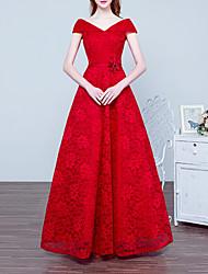 זול -גזרת A אלגנטית פרחוני ארוסים ערב רישמי שמלה צווארון V ללא שרוולים עד הריצפה תחרה עם סרט 2020