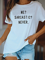 cheap -Women's T-shirt Letter Round Neck Tops Loose Basic Top White