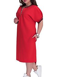 cheap -Women's Shirt Dress Knee Length Dress - Short Sleeves Solid Color Summer Work 2020 Black Red Brown XL XXL XXXL XXXXL XXXXXL