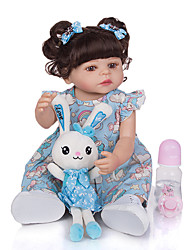cheap -KEIUMI 22 inch Reborn Doll Baby & Toddler Toy Reborn Toddler Doll Baby Girl Gift Cute Washable Lovely Parent-Child Interaction Full Body Silicone 22D01-C327-H99-T22-S07 with Clothes and Accessories