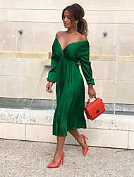 cheap -Women's A-Line Dress Knee Length Dress - Long Sleeve Solid Color Ruched Summer V Neck Hot Sexy 2020 Black Green S M L XL