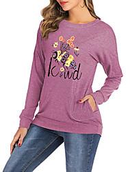 cheap -Women's Be kind T-shirt Animal Letter Long Sleeve Print Round Neck Tops Batwing Sleeve Loose Basic Basic Top Black Blushing Pink Green