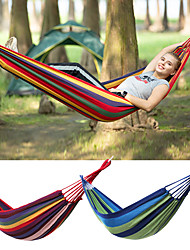 cheap -Camping Hammock Outdoor Portable Breathable Ultra Light (UL) Canvas for 1 person Hiking Beach Camping Stripes Red Blue 195*80 cm