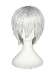 cheap -Tokyo Ghoul Ken Kaneki Cosplay Wigs Unisex Layered Haircut 12 inch Heat Resistant Fiber Straight Silver Dark Gray Teen Adults' Anime Wig