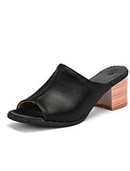 cheap -Women's Sandals Summer Block Heel Peep Toe Minimalism Daily Solid Colored PU Almond / Black / Silver