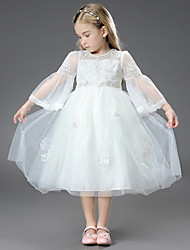 cheap -Princess / Ball Gown Ankle Length / Royal Length Train Wedding / First Communion Flower Girl Dresses - Tulle / Matte Satin Long Sleeve Jewel Neck with Beading / Appliques / Butterfly