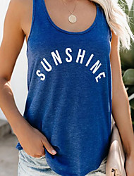 cheap -Women's Tank Top Letter Print Round Neck Tops Loose Cotton Basic Basic Top Blue Purple Red
