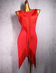 abordables -Danse latine Robe Gland Femme Utilisation Sans Manches Spandex
