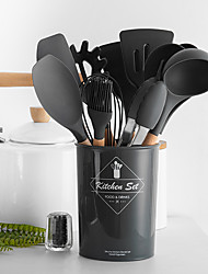 cheap -Silicone Cooking Utensils Non-stick Spatula Shovel Wooden Handle Cooking Tools Set With Storage Box Kitchen Tools