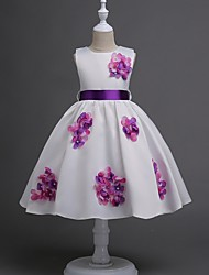 cheap -Princess / Ball Gown Knee Length Party / Wedding Flower Girl Dresses - Satin Sleeveless Jewel Neck with Sash / Ribbon / Bow(s) / Flower