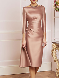 cheap -Sheath / Column Mother of the Bride Dress Elegant Jewel Neck Knee Length Satin 3/4 Length Sleeve with Split Front Ruching 2020