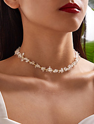 cheap -Women's Necklace Classic Lucky Classic Rustic Natural Trendy Chrome White 37 cm Necklace Jewelry 1pc For Party Evening Masquerade Street Beach Festival